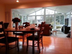 Gable Sunroom Levittown interior with house wall opened