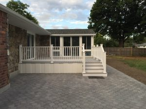 Gable Sunroom with synthetic decking steps and rails