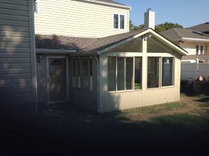 Gable sunroom with roof tie-in