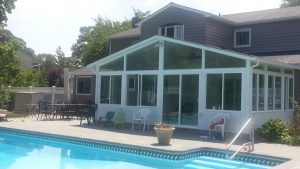 Gable sunroom with side transoms with solid knee walls
