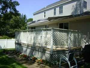 Retractable Awning side view of a roof mount